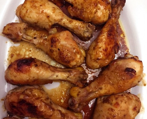 Baked Apricot Garlic Chicken Legs