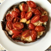 Portobello Pizza With Mozarella and Cherry Tomatoes