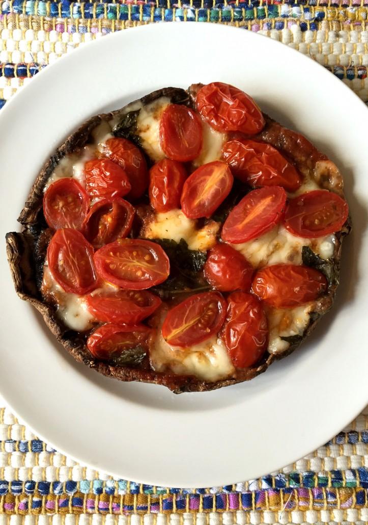 Portobello Pizza With Mozarella and Cherry Tomatoes