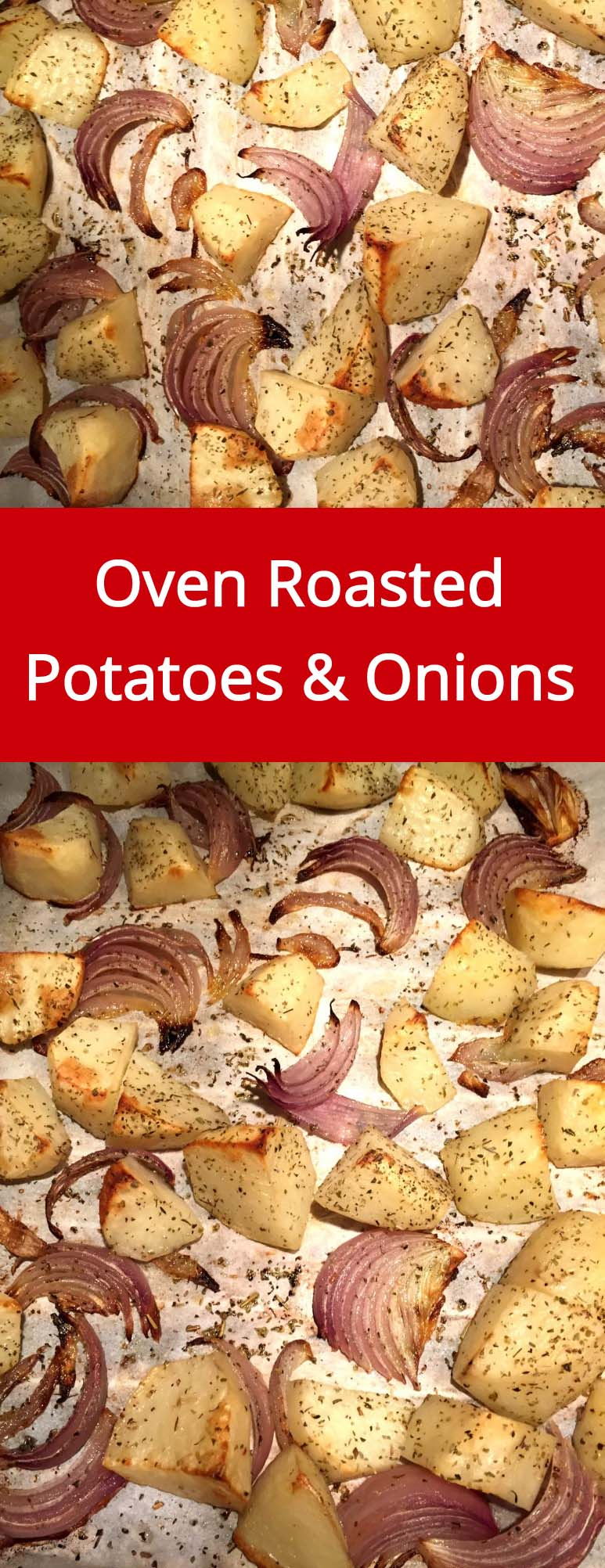 Oven Roasted Potatoes And Onions Recipe - super easy and yummy, the oven does all the work! | MelanieCooks.com