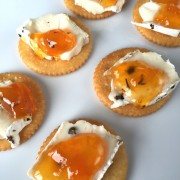 Brie Cheese With Jam On Ritz Crackers Easy Appetizer