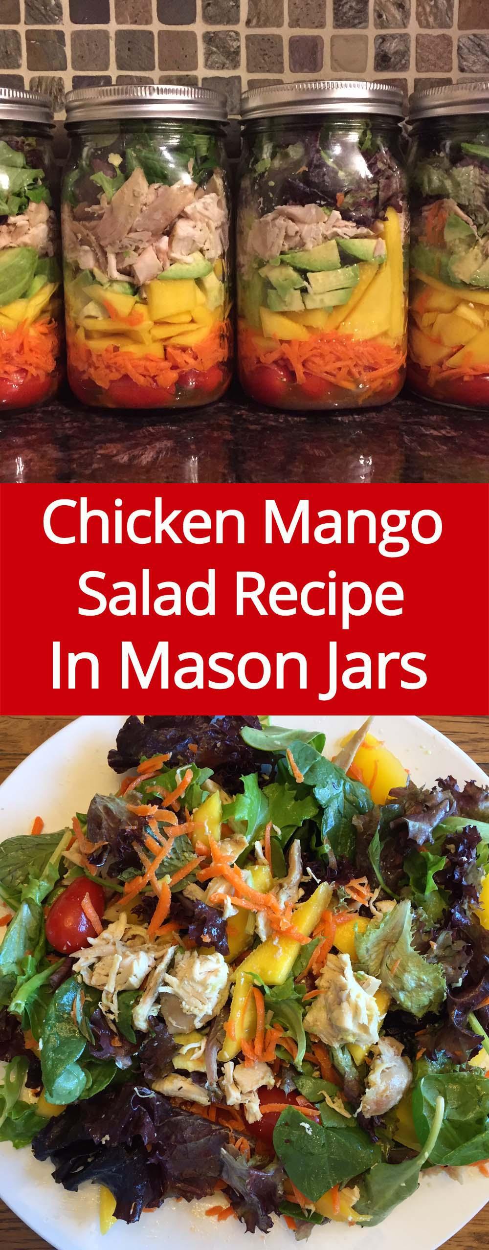 Chicken Mango Mason Jar Salad Recipe - these mason jar salads stay fresh for 5 days!  Genius idea, must try this!