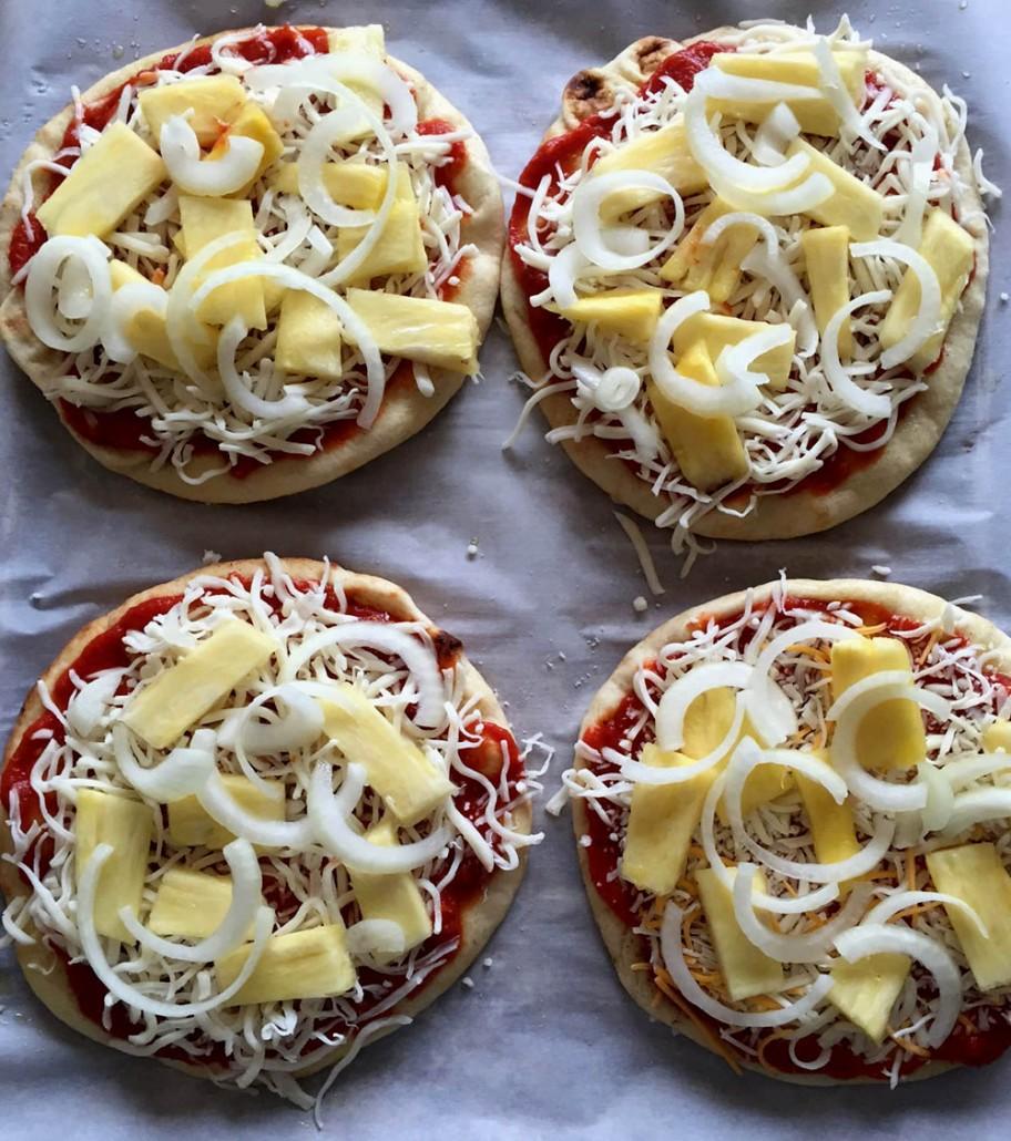 Pineapple Onion Pita Pizzas - ready to bake!