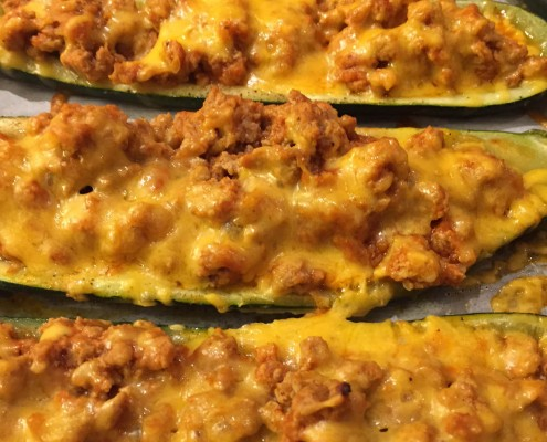 Low-Carb Stuffed Baked Zucchini Boats