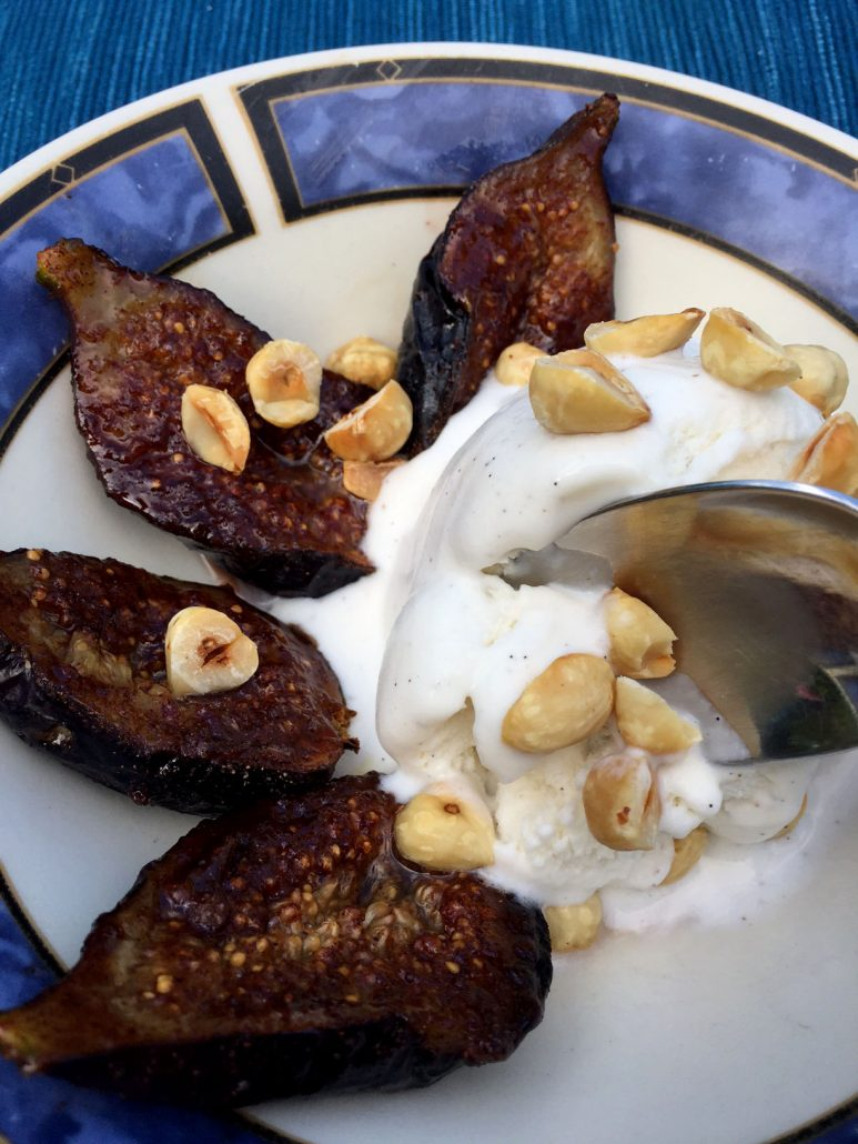 Easy Ice Cream Dessert With Roasted Figs And Hazelnuts