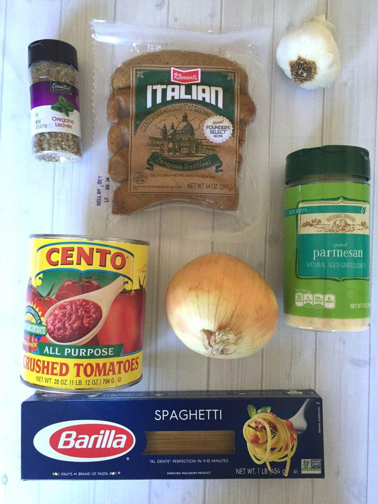 One-Pot Sausage Pasta Ingredients
