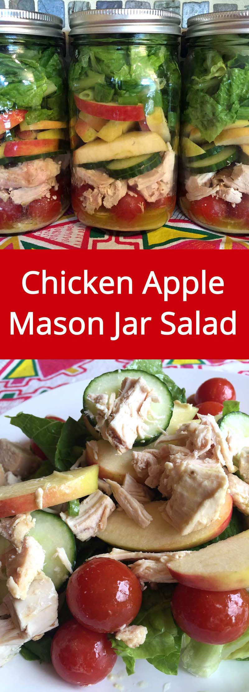 Chicken Apple Mason Jar Salad - make a week's worth of healthy lunches in 20 minutes or less! | MelanieCooks.com