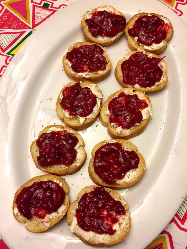 Cranberry Goat Cheese Bruschetta Appetizer