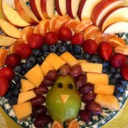 Thanksgiving Turkey Shaped Fruit Platter :) Lots of AWESOME Thanksgiving recipes on this site! | MelanieCooks.com