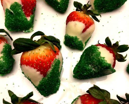 White Chocolate Covered Christmas Strawberries