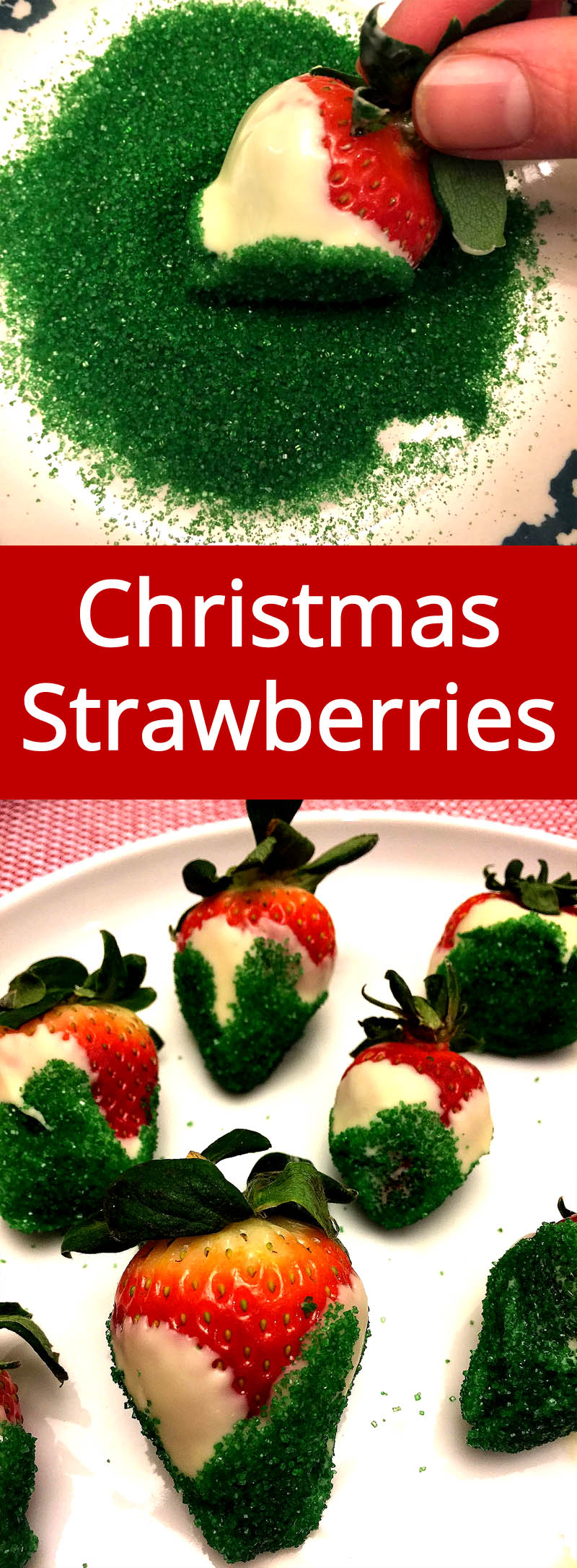 Red, White And Green Chocolate Covered Strawberries - perfect for Christmas! | MelanieCooks.com