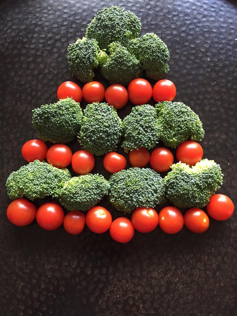 Broccoli Christmas Tree With Cherry Tomato Ornaments