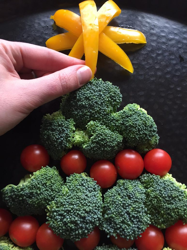 Making Christmas Tree Out Of Vegetables
