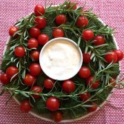 Christmas Wreath Shaped Veggie Plate Appetizer