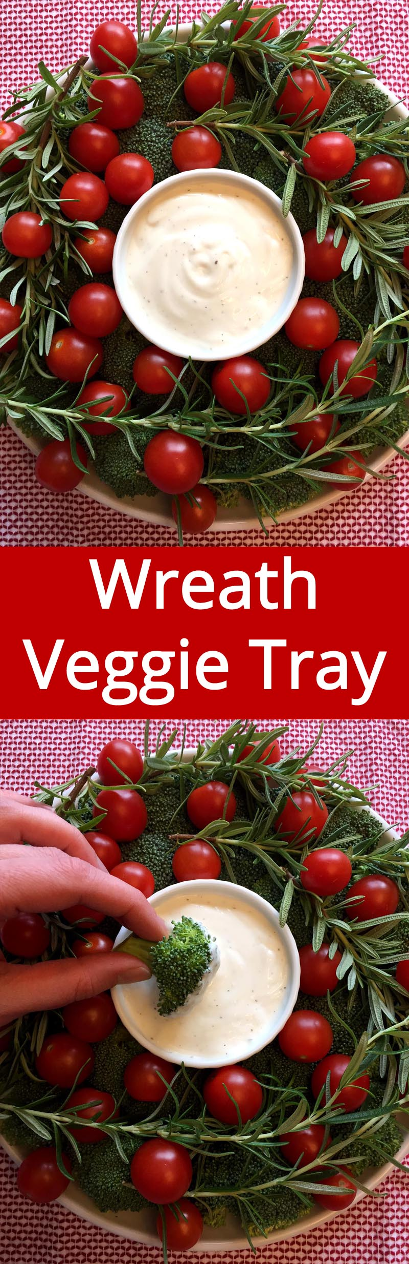 Christmas Wreath Veggie Tray - so cute! Must make this for the Christmas party! | MelanieCooks.com