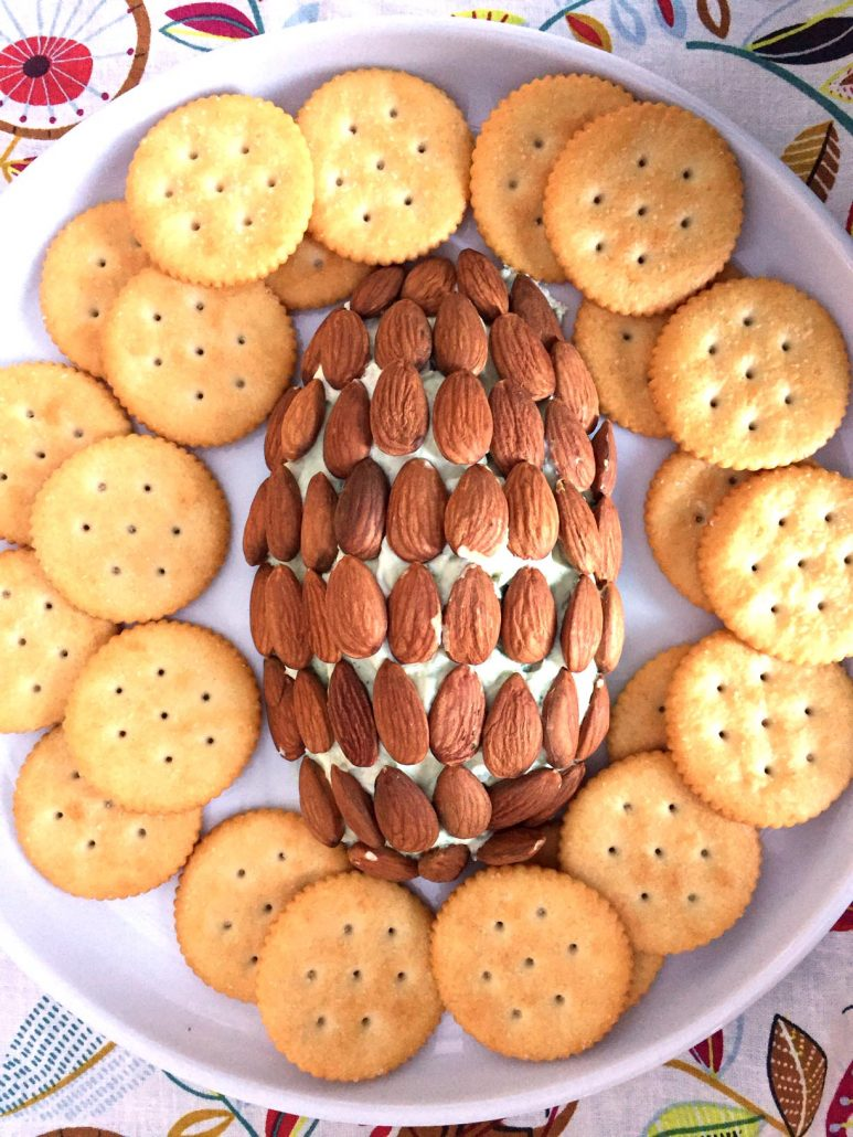 Pine Cone Cheese Ball With Crackers