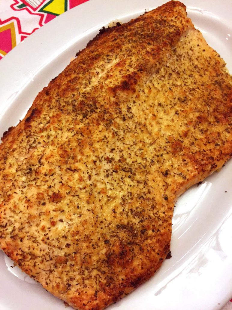 Baked Whole Salmon With Parmesan Herb Crust