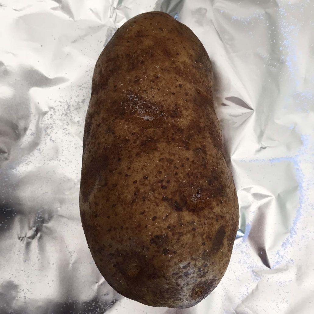 Foil wrapped potato for baking