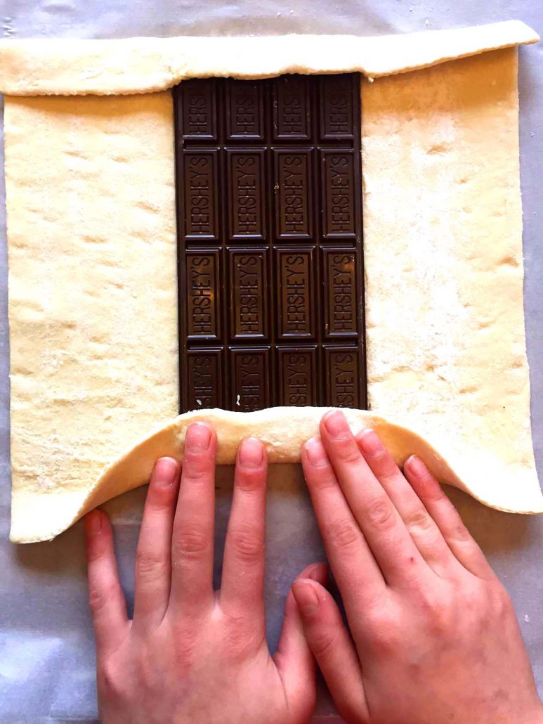 Wrapping Chocolate Bar In Puff Pastry Dough