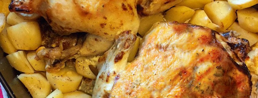 Two Roasted Chickens With Potatoes