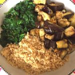 Vegan Quinoa Buddha Bowl With Eggplant And Spinach