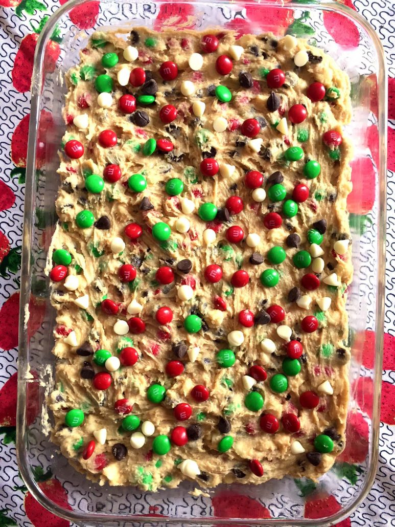 Christmas Cookie Dough With M&M's and chocolate chips