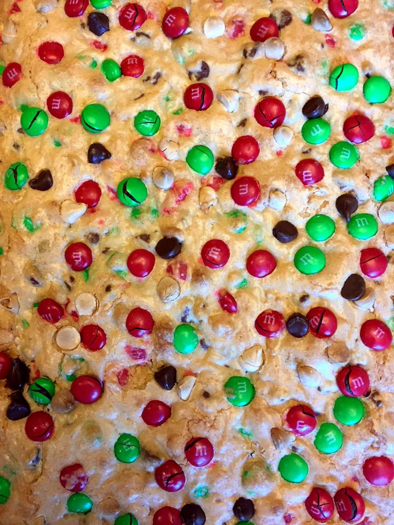 Easy Christmas Baking M&M's bars