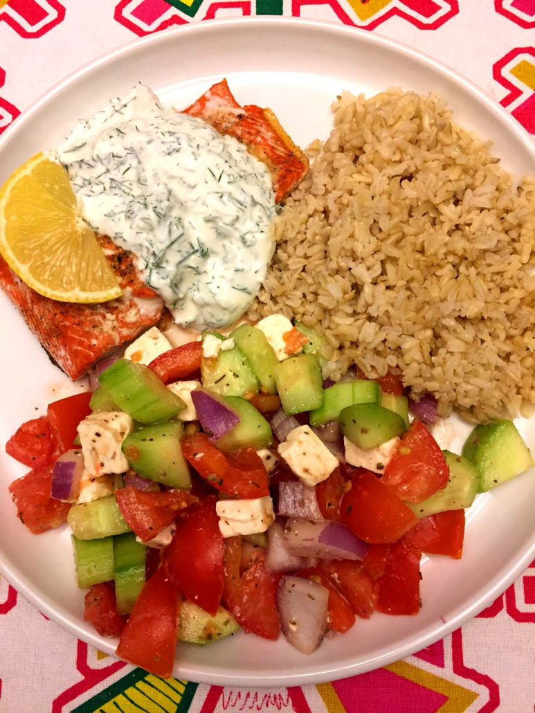 Baked Salmon With Creamy Sauce and Brown Rice