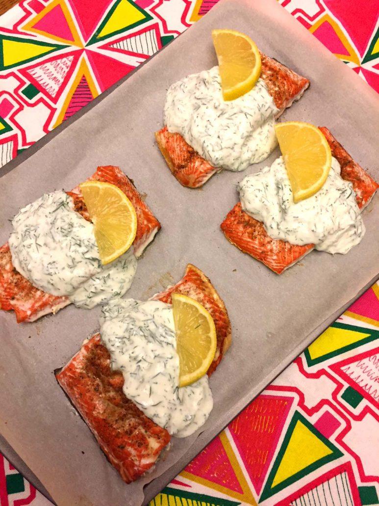 Baked Salmon With Creamy Garlic Sauce