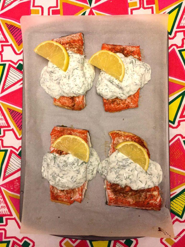 Easy Baked Salmon Recipe With Creamy Garlic Sauce