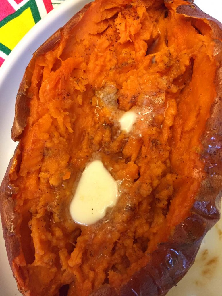 Baked Sweet Potato With Butter, Maple Syrup and Cinnamon