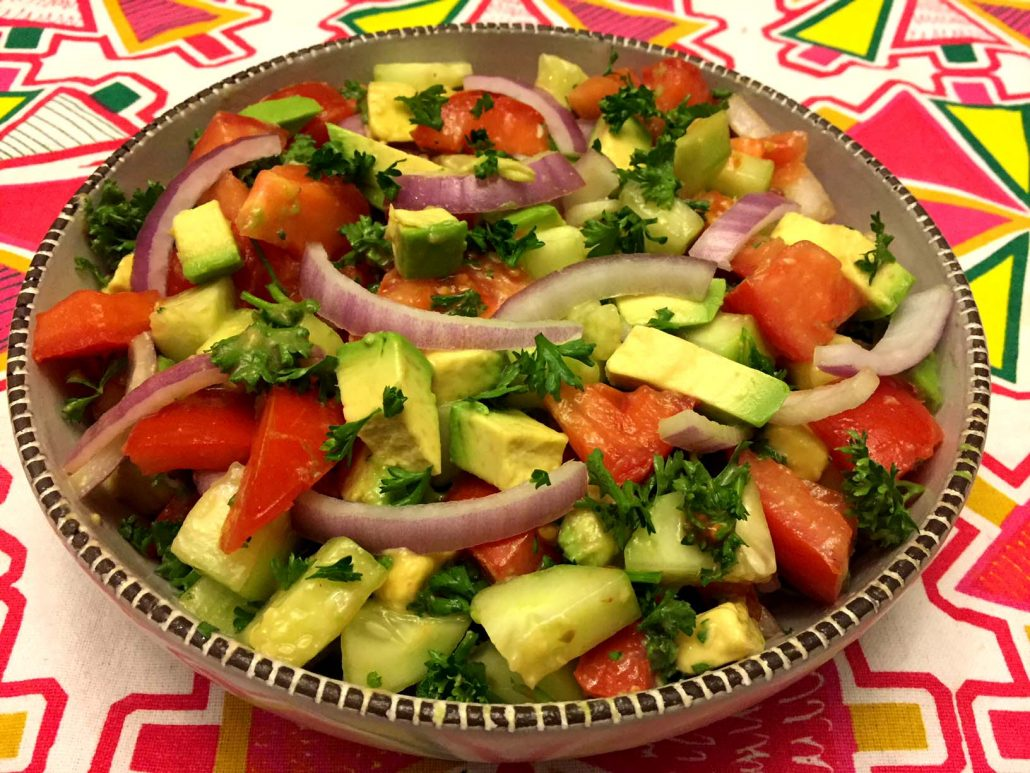 Healthy Salad Recipe With Tomatoes, Cucumber and Avocado