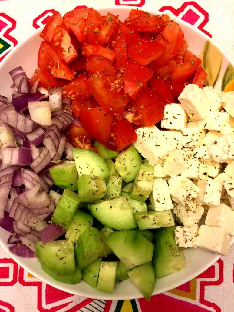 Tomato Cucumber Feta Greek Salad Ingredients