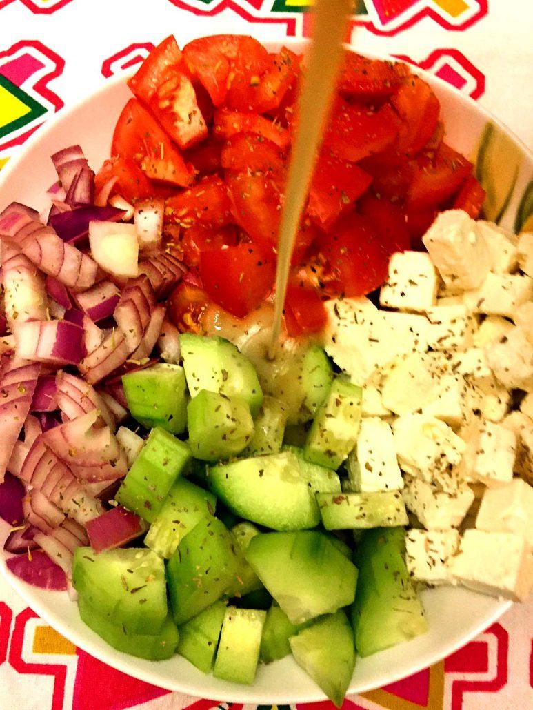 Greek Salad With Feta Cheese Homemade Dressing