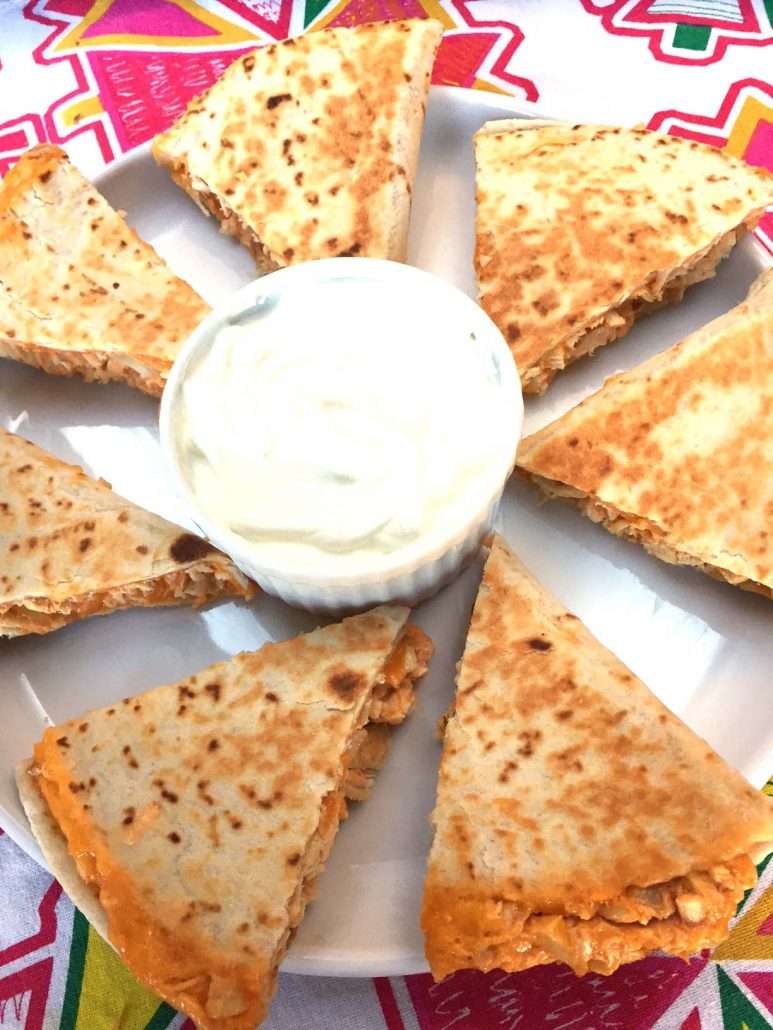 Buffalo Chicken Quesadillas With Sour Cream