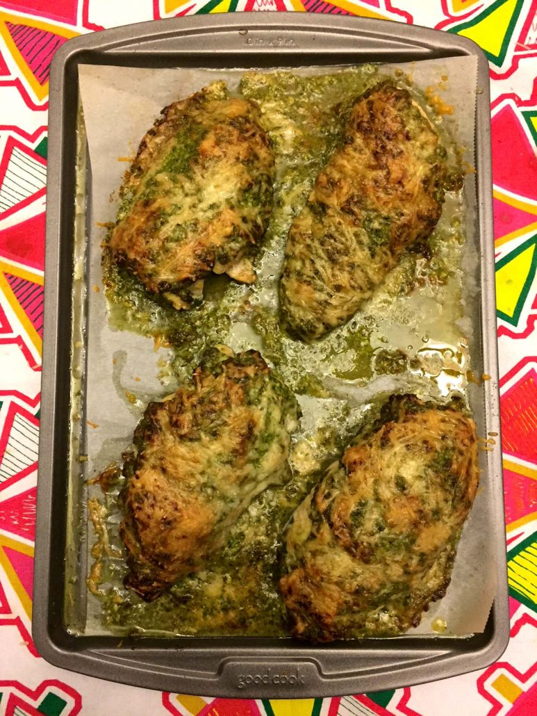 Easy Baked Pesto Chicken With Parmesan