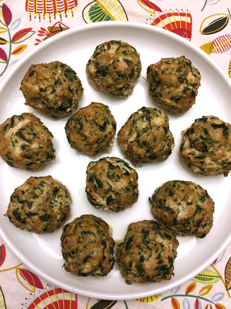 Baked Turkey Meatballs With Spinach Inside