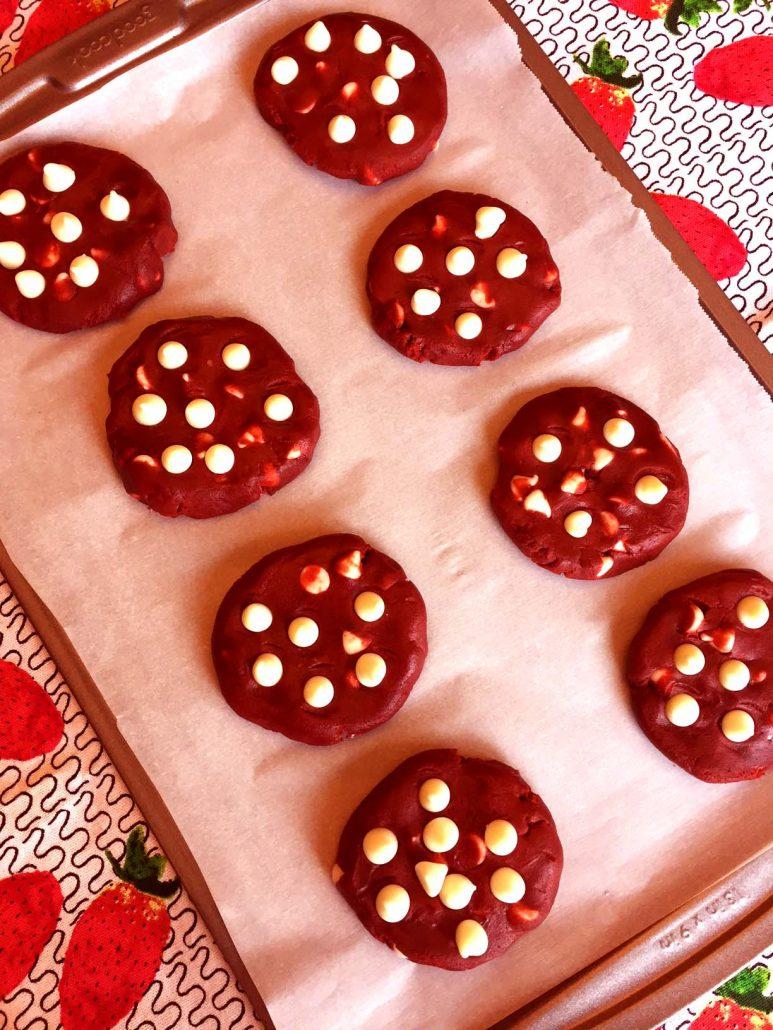 Valentine's White Chocolate Chip Red Velvet Cookies