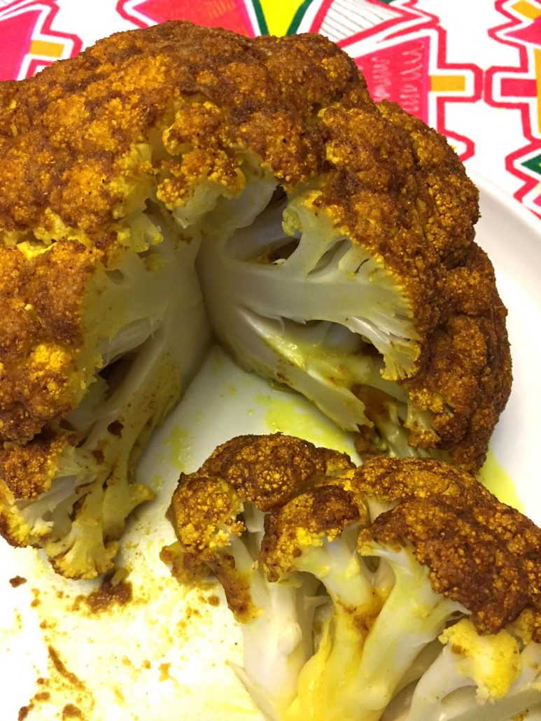 Oven Roasted Whole Cauliflower With Spicy Curry