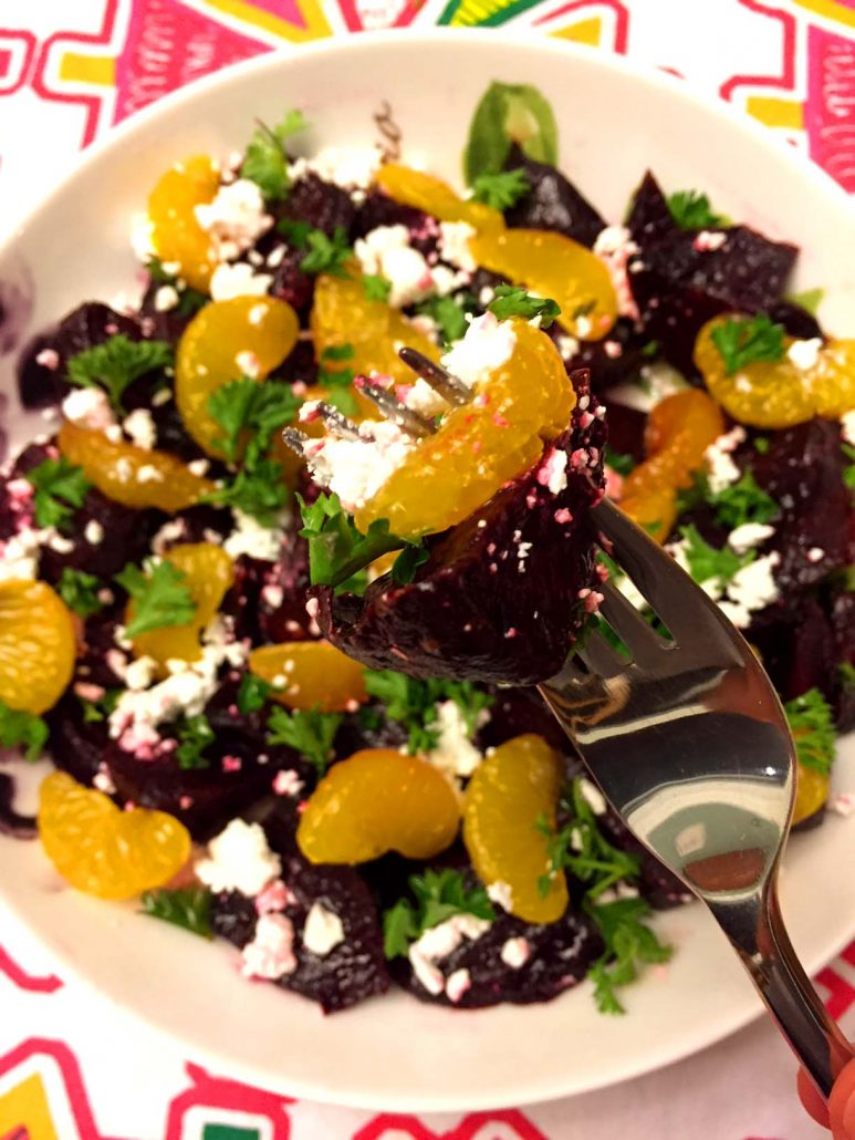 Easy Roasted Beet Feta Salad