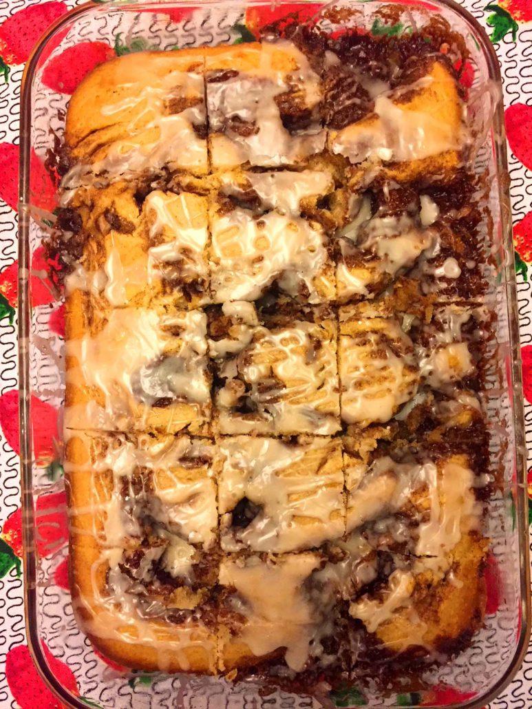 Sliced Cinnamon Roll Cake