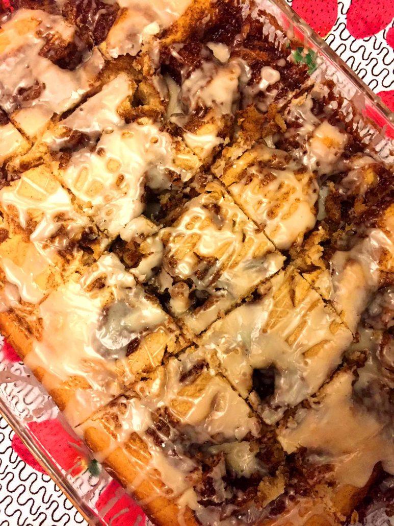 Cinnamon Roll Cake Cut Into Squares