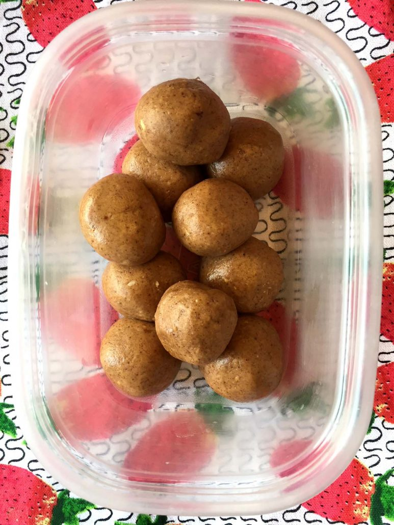 Almond Butter Energy Balls Snacks In A Container