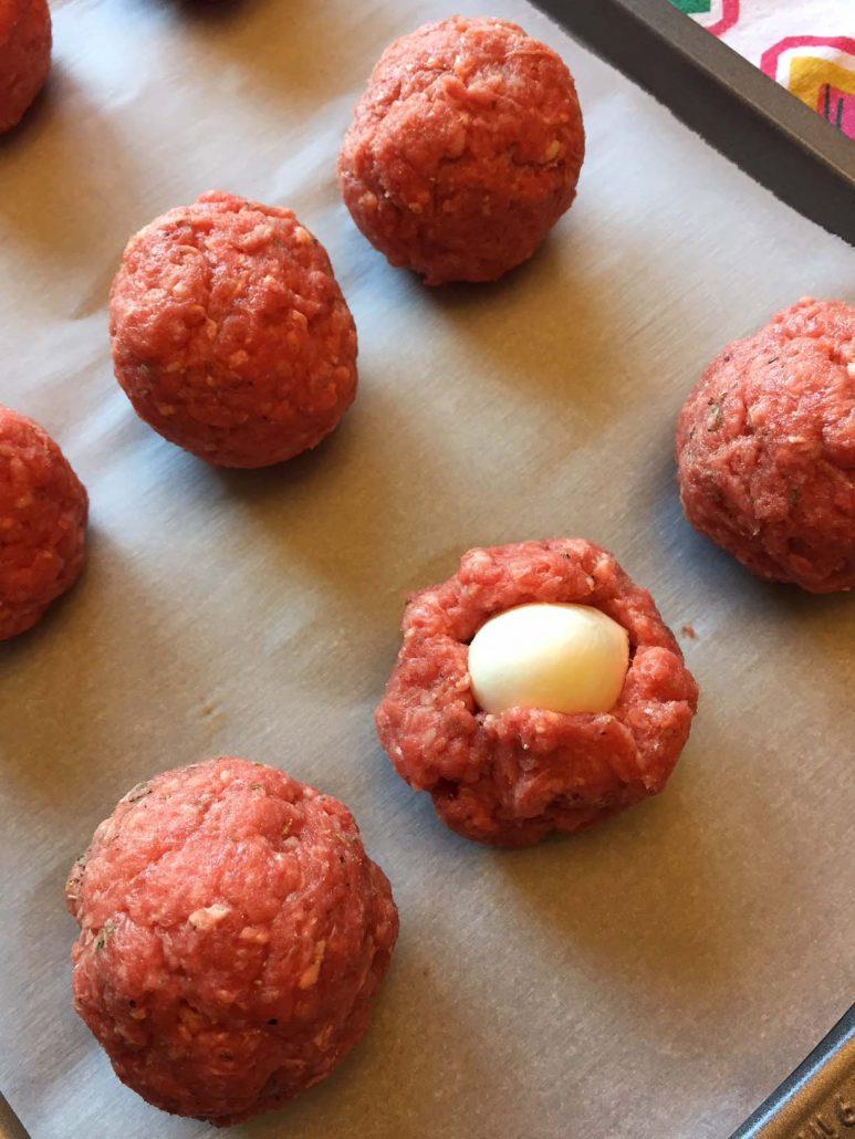 Fresh Mozzarella Ball Inside A Meatball