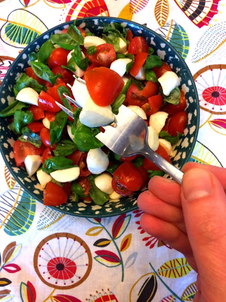 Caprese Salad With Tomatoes Basil Fresh Mozzarella Cheese