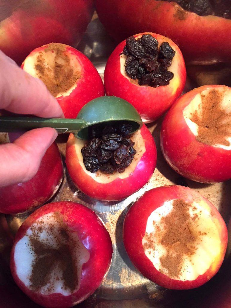 apples stuffed with raisins