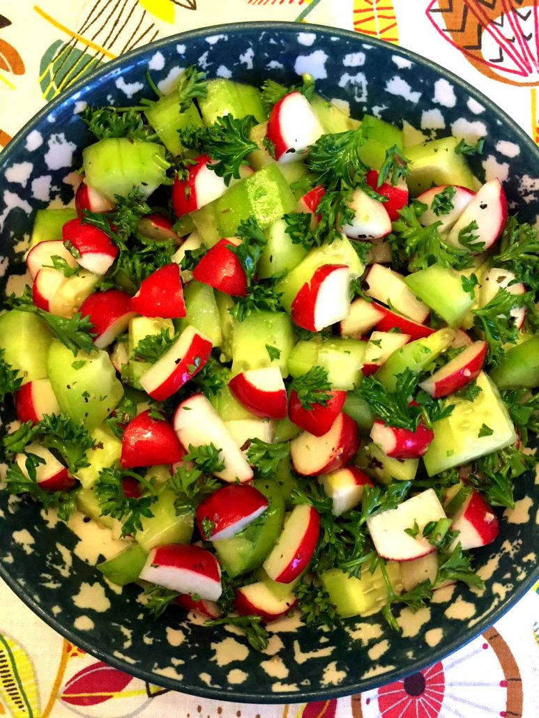 Salad Recipe With Fresh Radishes And Cucumbers