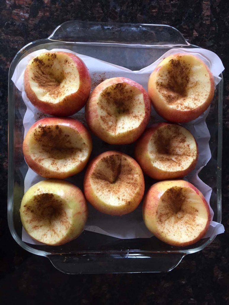 Sprinkle baking apples with cinnamon