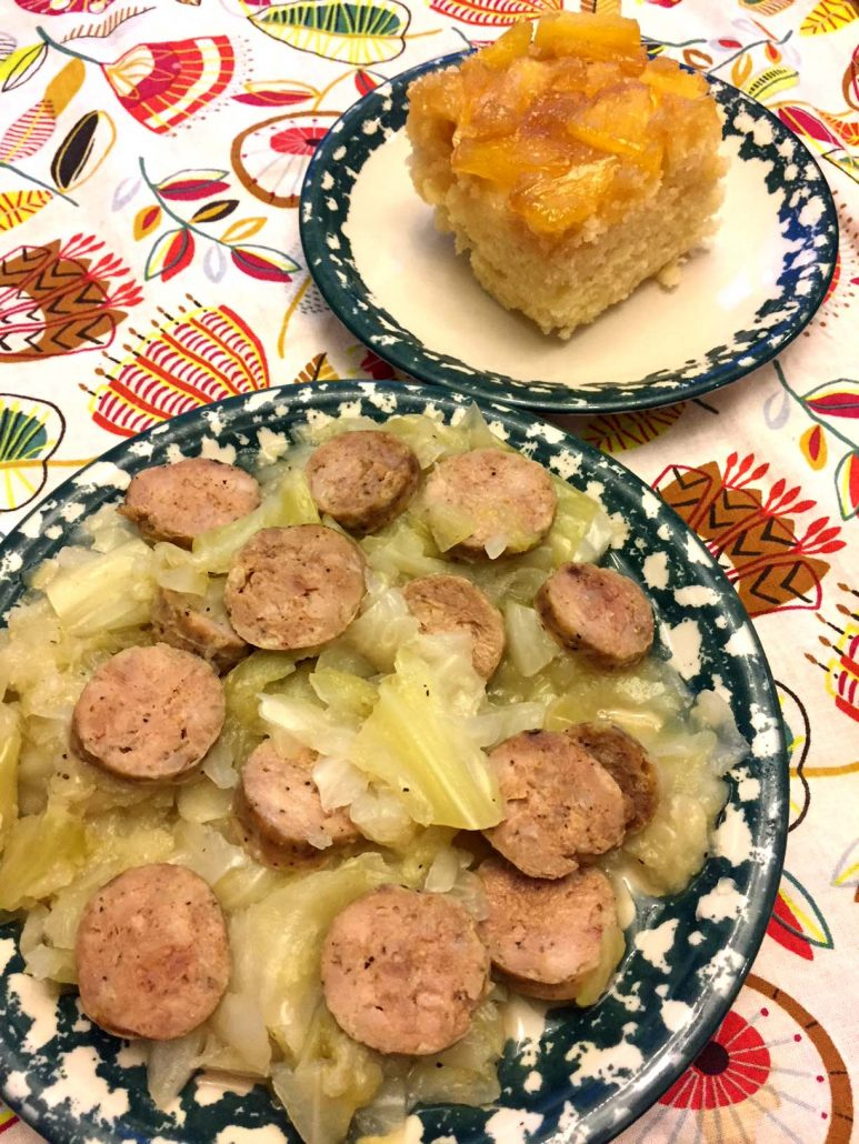 Cabbage and sausage dinner with pineapple cake