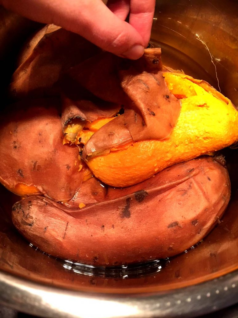Peeling cooked sweet potatoes